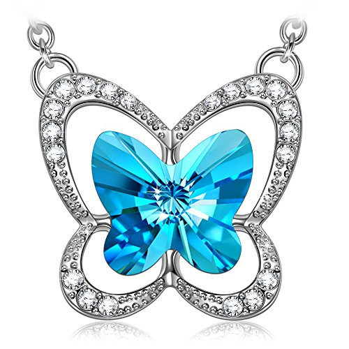 LADY COLOUR Butterfly Necklace for Women Alloy Pendant With Swarovski Blue Crystals Fashion Costume Jewelry Brithday Anniversary Romantic Gifts Present Wife Her Girls Girlfriend Mom Mother Lady Sister