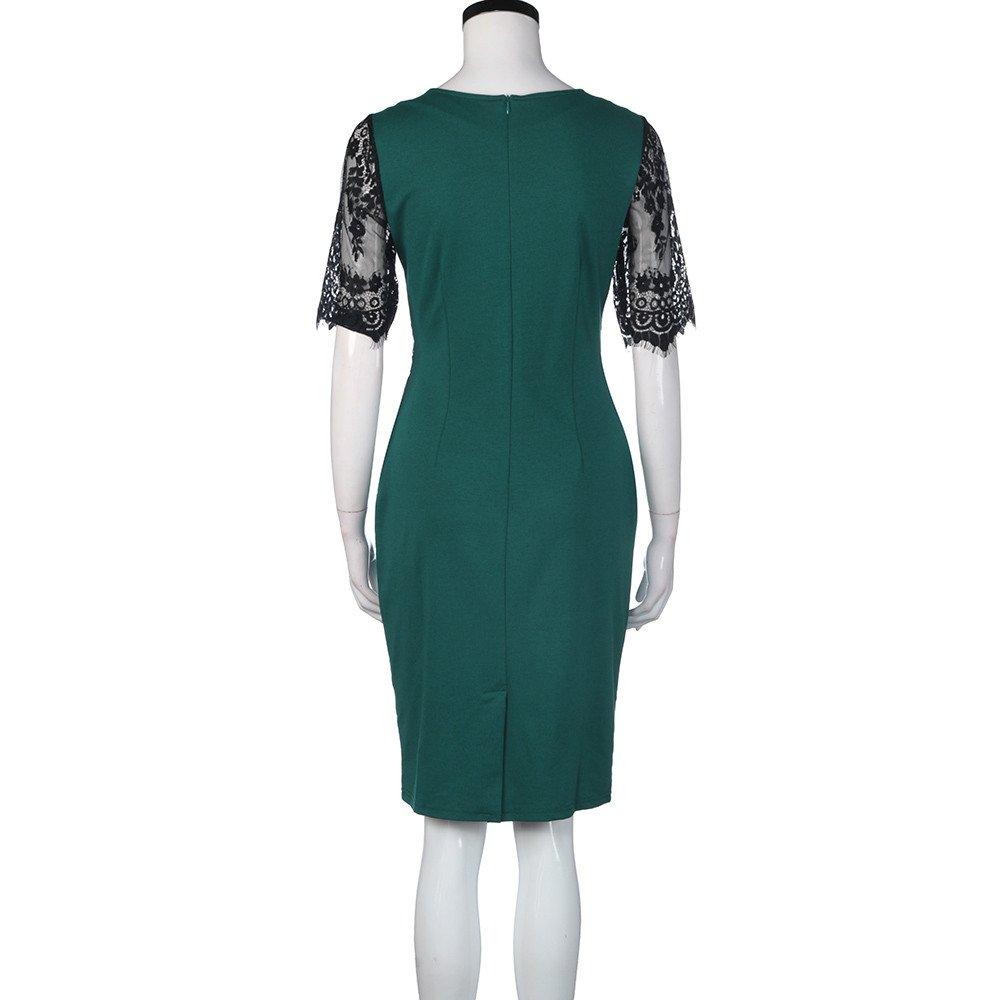 LLonGao Frauen-Weinlese-Spitze Figurbetontes Bleistift-Abend-Party-Kleid