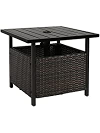 Iwicker Patio PE Wicker Umbrella Side Table Stand Outdoor Bistro With Hole