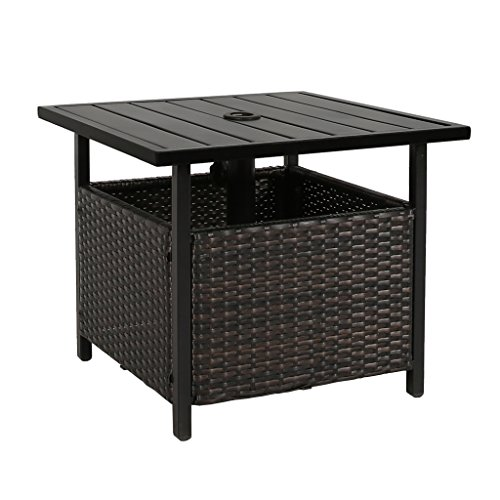 Iwicker Patio PE Wicker Umbrella Side Table Stand, Outdoor Bistro Table With Umbrella Hole (Table Umbrella Side)
