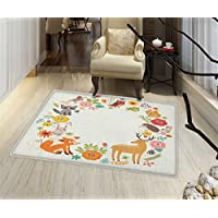 Forest Print Area rug European Forest Fauna and Flora with Deer Fox Raccoon and Roses Cartoon Wildlife Bathroom Mat for tub Non Slip 18x30 Multicolor