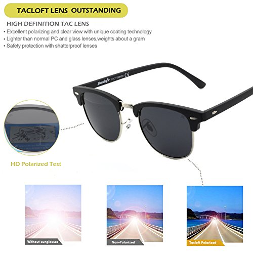 b39daa1e0e6 Tacloft Classic Clubmaster Sunglasses Polarized 51MM Horn Rimmed ...