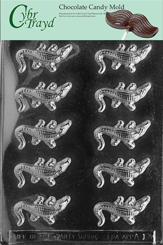 Cybrtrayd Life of the Party A013 Small Alligators Chocolate Candy Mold in Sealed Protective Poly Bag Imprinted with Copyrighted Cybrtrayd Molding - Plastic Alligator Mold