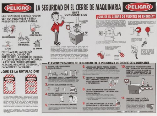 Brady LOSP8SP 18' Height, 24' Width, Laminated Paper, Black And White On Red Color Lockout Safety Poster (Spanish)