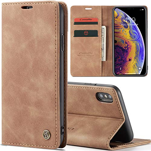 Slim Folio Leather Wallet Card Holder Case for iPhone 7 Plus/iPhone 8 Plus 5.5inch with Kickstand Magnetic Flip Potective Cover (Brown)