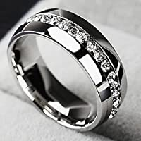 Nongkhai shop Men/Women CZ Couple Stainless Steel Wedding Ring Titanium Engagement Band Gift (7)