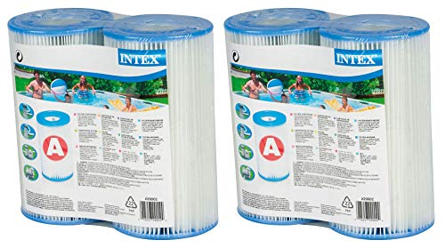 Intex Type A Easy Set Above Ground Pool Replacment Filter Cartridge (4 Pack)