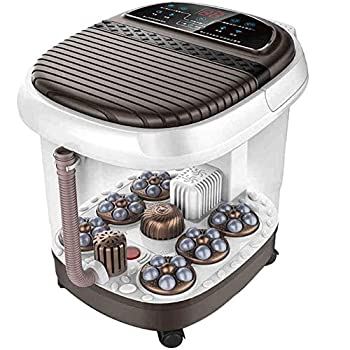 Image of Home and Kitchen ZYOZLPLV Foot Automatic Heated Massage Foam Basin, Massage Hydrotherapy Massage Automatic Foot Bath, Electric Massage Heating, Pedicure Machine,Coffee Color,A