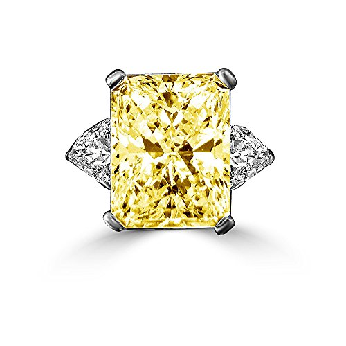 Triangular Womens Ring - Diamond Veneer - 15 CT. Radiant Classic Style Ring W/Two 1.50 Ct Triangular Sides Sterling Silver Ring (Canary, 9)