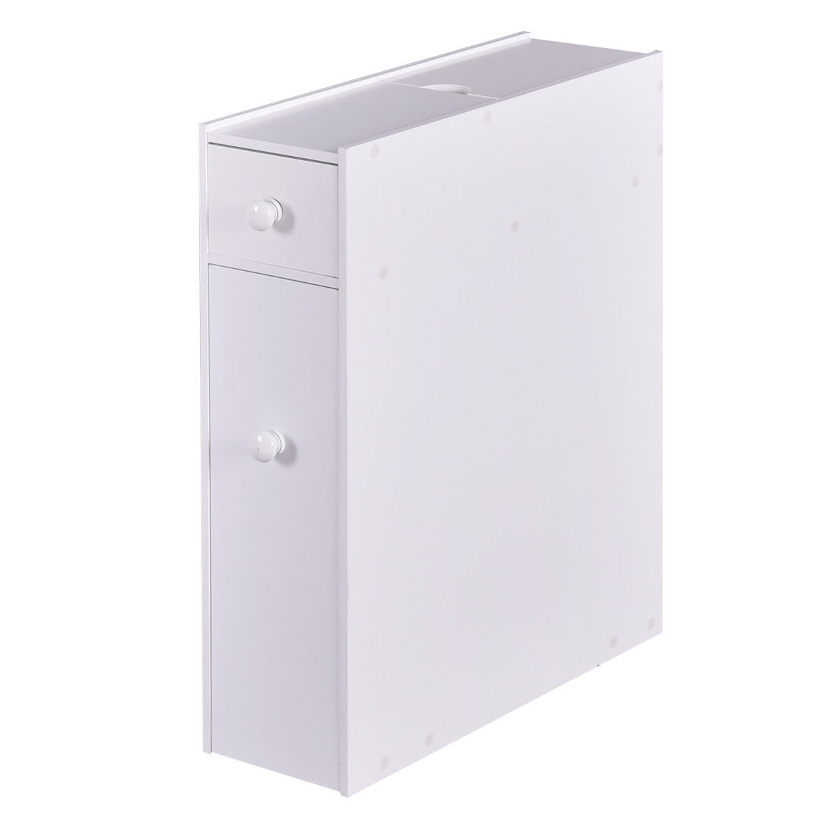 White Bahtroom Floor Cabinet Stand Storage Unit Space Saver w/ Sliding Drawer