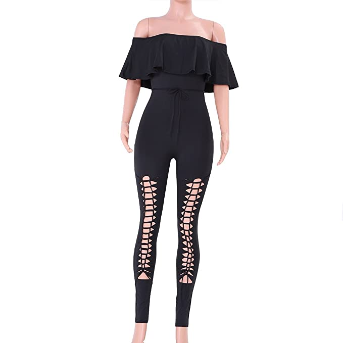 bb8beaf964a Womens Jumpsuit Off Shoulder Sleeve Hollow Out Sexy Women Bodycon Long  Jumpsuit Rompers Sports Gym Yoga Star Print Running Jumpsuit  Amazon.co.uk   Clothing