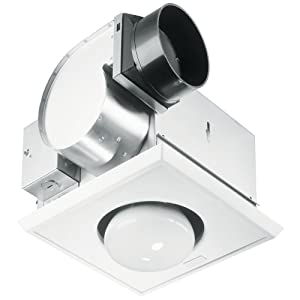 "Nutone 70 CFM Heat-A-Vent Bathroom Fan with One-Bulb Lamp Heater for 4"" Duct"