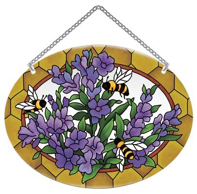 Lavender with Bees Stained Glass Suncatcher (Glass Lavender Suncatcher)