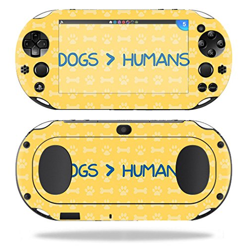 Four Paws Vita Greens - MightySkins Skin Compatible with Sony PS Vita (Wi-Fi 2nd Gen) - Dogs Over Humans   Protective, Durable, and Unique Vinyl Decal wrap Cover   Easy to Apply, Remove, and Change Styles   Made in The USA