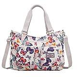 EasyHui Nylon Messenger Bag Crossbody Shoulder Bag Women Girls Flower Print Large Capacity Travel Bag Colorful Butterfly