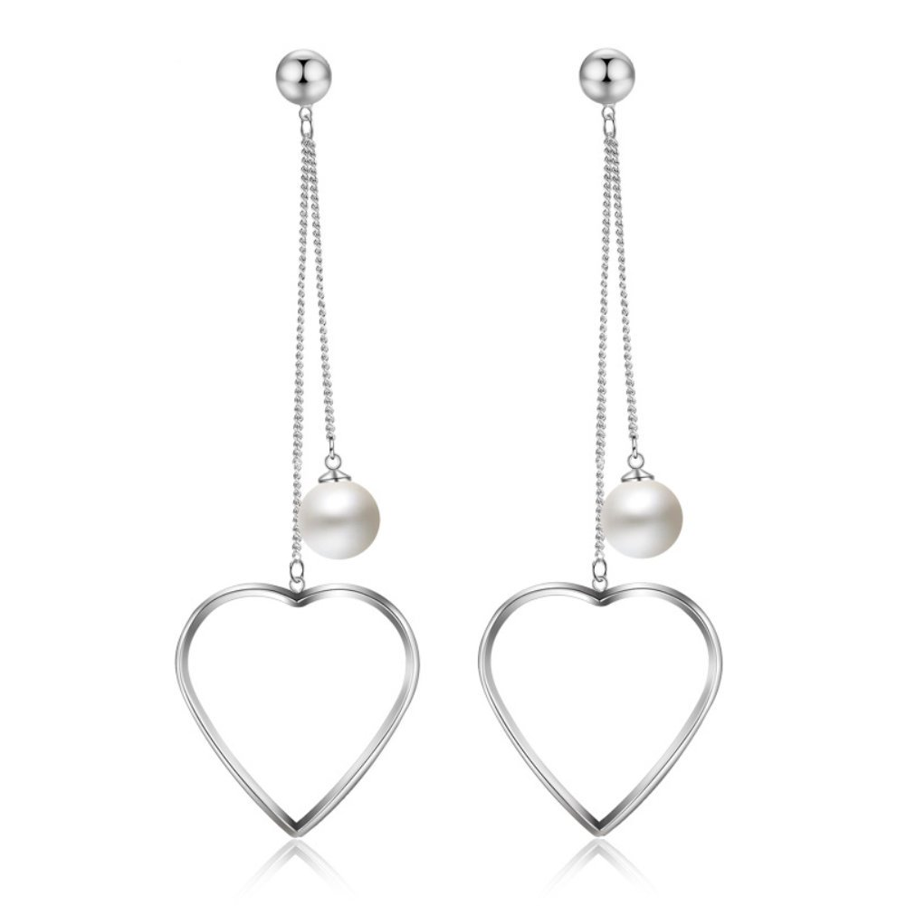 Gold Silver Dangle Drop Earrings for Women with Colorful Crystal Stone Pearl Charms (Love Heart Dangle Pearl)