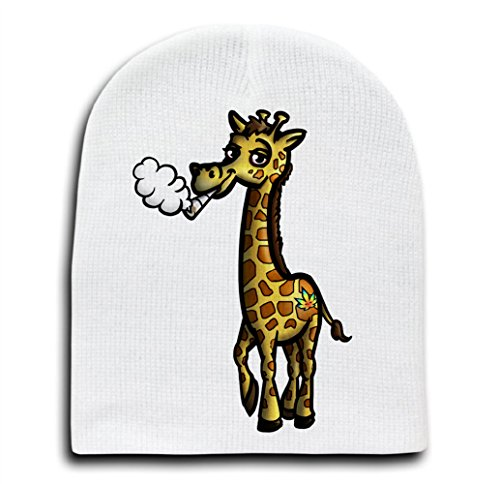 Pot Smoking Pals Giraffe - White Adult Beanie Skull Cap -