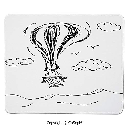 Quality Selection Comfortable Mouse Pad,Hot Air Balloon Sketch in The Clouds Murky Air Journey Artistic Picture,Non-Slip Water-Resistant Rubber Base Cloth Computer Mouse Mat (11.81