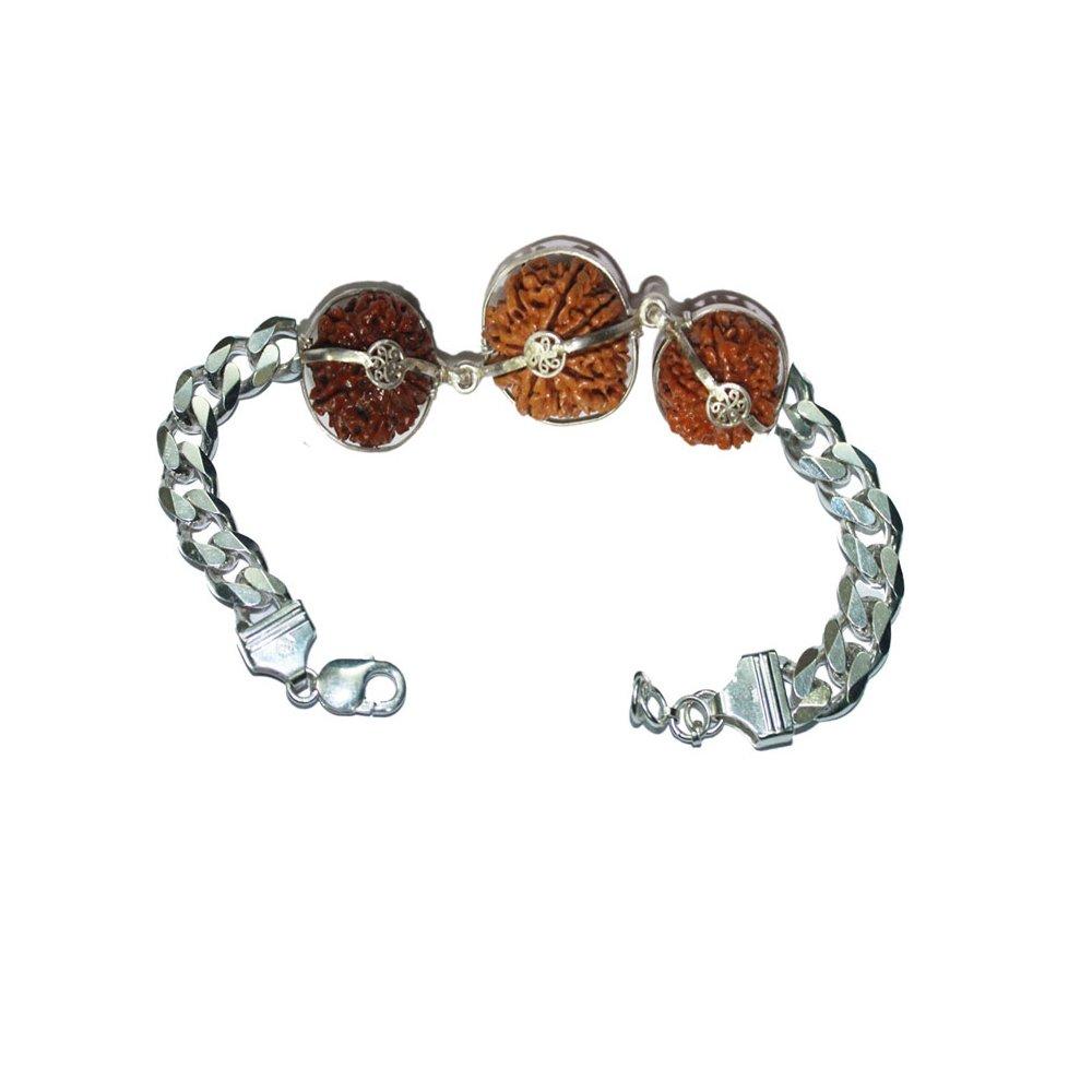 Rudraksha Bracelet For Business Pure 925 Silver 6,8,15 Mukhi Java Certified