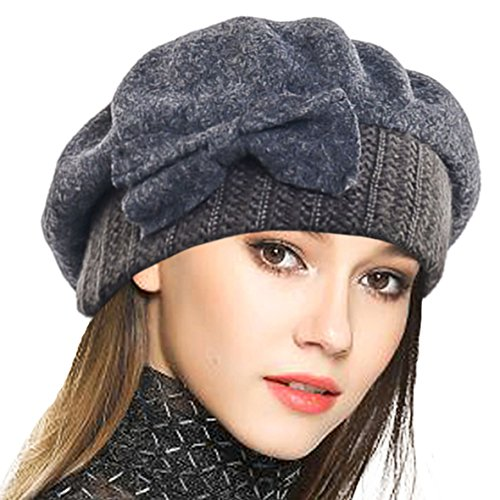 (VECRY Lady French Beret 100% Wool Beret Floral Dress Beanie Winter Hat (Bow-Grey))