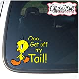"Tweety Bird ""Get Off My Tail!"" Vinyl Decal Sticker for Cars / Trucks FULL COLOR"