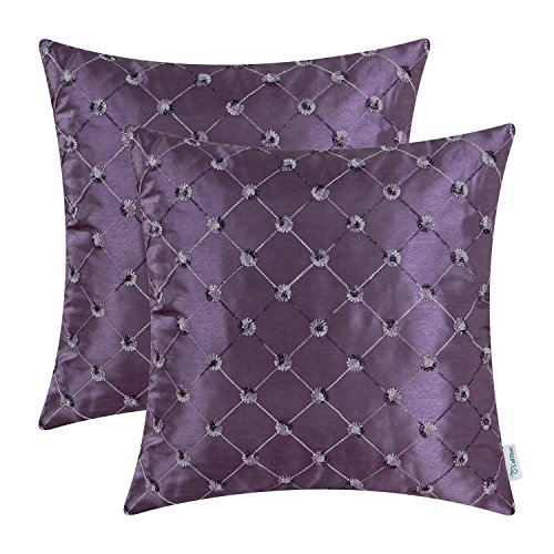 CaliTime Pack of 2 Cushion Covers Throw Pillow Cases Shells for Sofa Couch Home Decoration 18 X 18 Inches Modern Diamonds Shape Geometric Chain Embroidered Purple