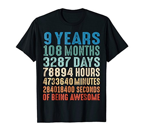 (9 Years Old 9th Birthday Vintage Retro T Shirt 108)