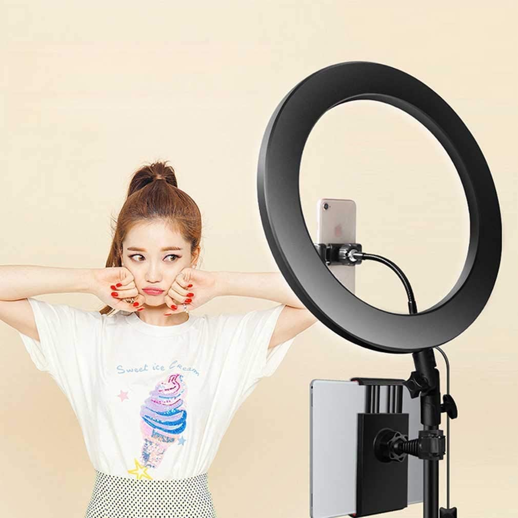XYSQWZ LED Ring Light 14 Inch with Tripod 14 Inch Dimmable Light Tube with 3 Color Modes and 10 Brightness Mobile Phone Holder for YouTube Video