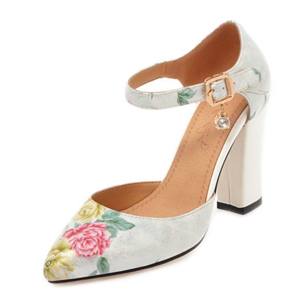 Chicmark Damen Elegant Sandalen mit Blockabsatz Schuhe für Datierung Wei