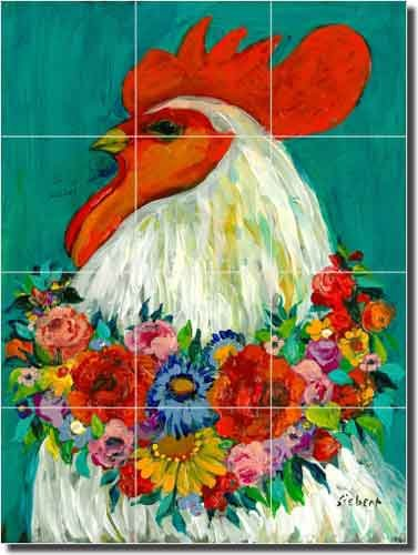 Floral Rooster by Bonnie Siebert - Rooster Chicken Ceramic Tile Mural 18