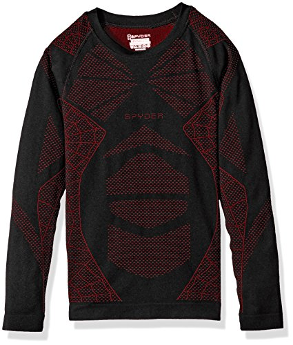 Spyder Boy's Racer Long Sleeve Shirt, Black/Red, Small/Medium