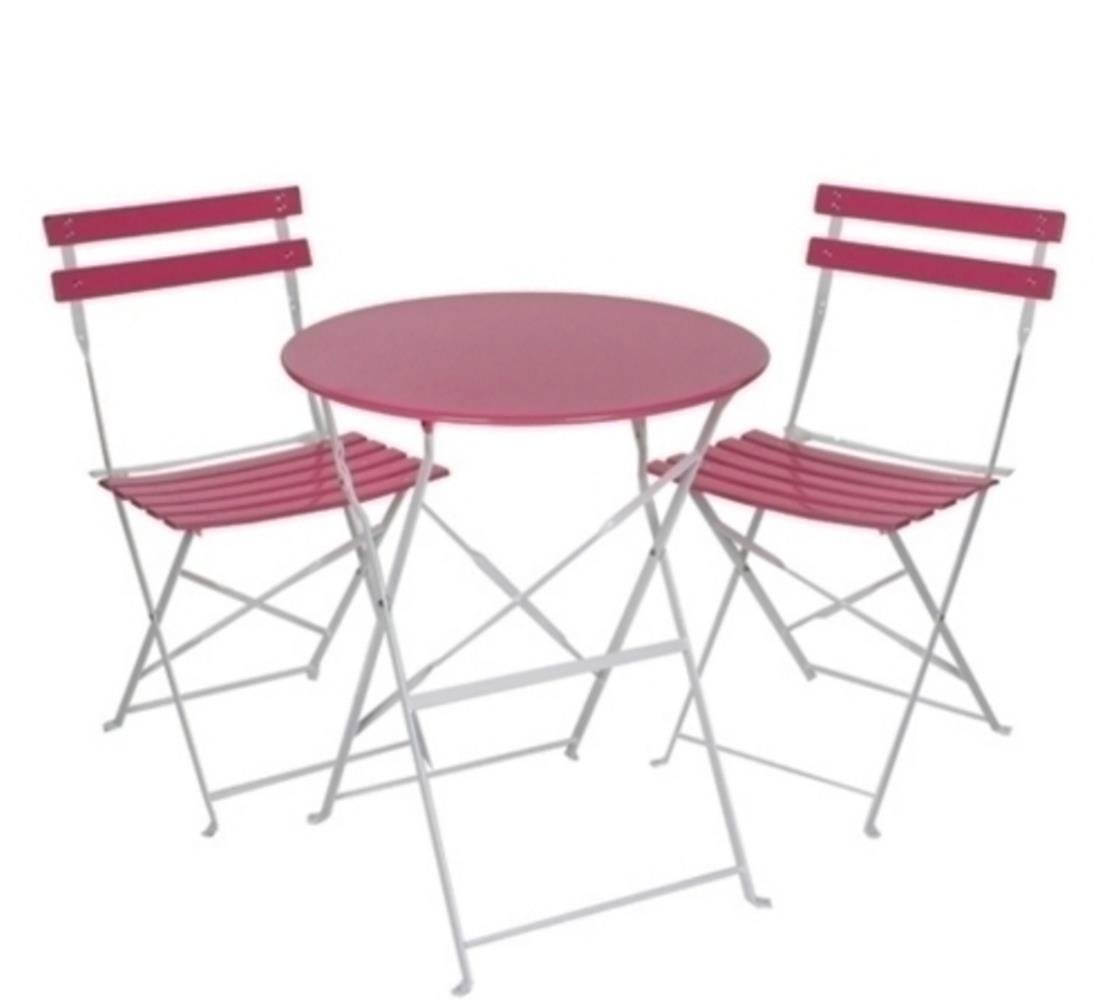 gartenset balkonm bel aus metall ein tisch und zwei st hle in pink 3er set online bestellen. Black Bedroom Furniture Sets. Home Design Ideas
