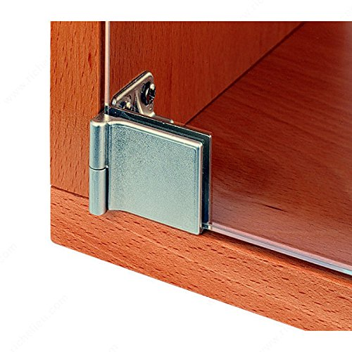 Hinge Glass Part (Snap-In Hinge for Glass Door Recessed Within Furniture/Cabinet, No drilling, Finish Nickel)