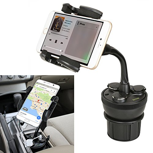 Price comparison product image iKross Universal Smartphone Car Cup Holder Mount with 3 Sockets and 2 USB Charging Port 2.1A - Black