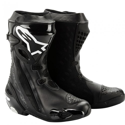 Alpinestars Supertech R Boot with Internal Ankle Brace System (Non-Vented) , Gender: Mens/Unisex, Distinct Name: Black, Primary Color: Black, Size: 7.5 2220012-10-41