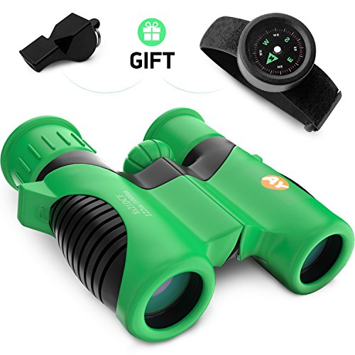View Old Real Photo - Real Binoculars for Kids high Resolution 8x21 with Adjustable Neck Strap - Includes Kids Compass Bracelet and Whistle