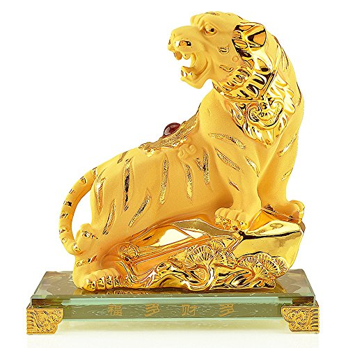 (Wenmily Chinese Zodiac Tiger Golden Resin Collectible Figurines Table Decor)
