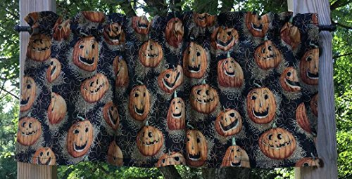 (Jack O Lattern Halloween Autumn Pumpkins Straw Handcrafted Curtain Valance)