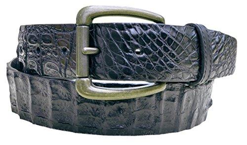 Belt Crocodile Skin Cayman-Black-Black-36