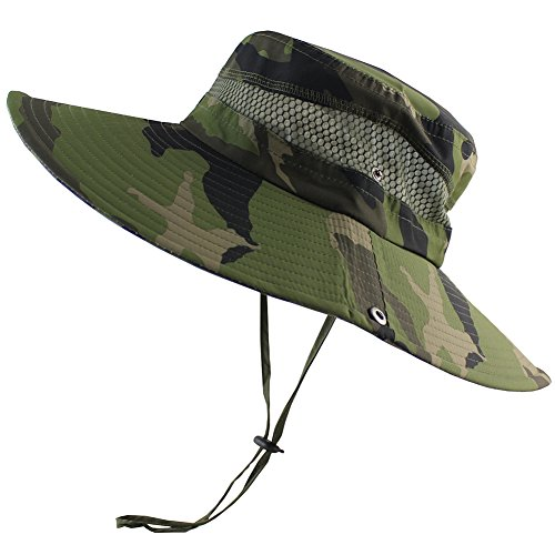 CAMOLAND Summer Fishing sun Boonie Hat Camouflage Outdoor UV Protection Large Brim Bucket Safari Cap Breathable - Bucket Large Brim