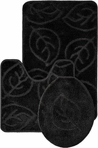 Leaf Pattern Design 3pc Bath Mat Rug set Black Soft and Ultra Absobent with Anti-Slip (Black Leaf Pattern)