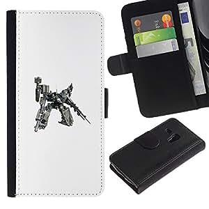 Samsung Galaxy S3 MINI 8190 (NOT S3) - Dibujo PU billetera de cuero Funda Case Caso de la piel de la bolsa protectora Para (Mech Warrior Huge Robot)