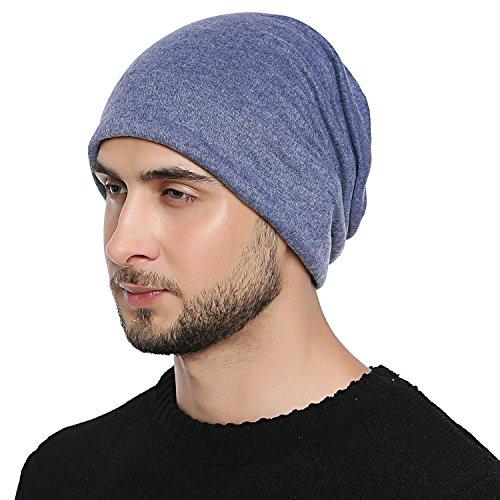 transpirable DonDon Hombre suave para cualquier todo adaptable flexible gorro Jersey de a talla cabeza clásico Gorro y Azul el año vvBdqwr