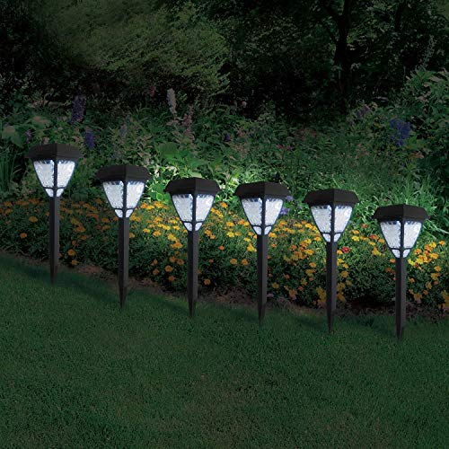 Fashionlite Christmas Solar Powered Lights Garden Decorative Solar Stake Lights White, Halloween Xmas Decoration, 6 Pack