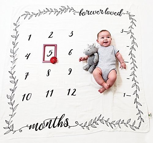 Organic Baby Monthly Milestone Blanket by Pondering Pine   Photography Background Prop for Boy or Girl   Newborn to 12 Months   Baby Shower Gift