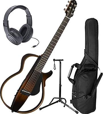 Yamaha SLG200S TBS Steel String Silent Guitar New 2015 Model w/ Gig Bag, Headphones, and Stand by Yamaha
