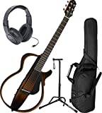 Yamaha SLG200S TBS Steel String Silent Guitar New 2015 Model w/ Gig Bag, Headphones, and Stand