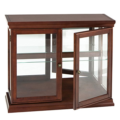 Double Curio Door Mahogany Cabinet Southern Enterprises Antique - Mirrored Cabinet Mahogany Curio