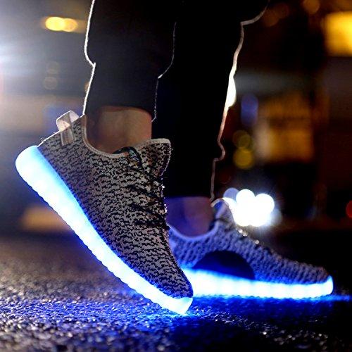 Luoine Led Luminous Zapatos Unisex Hombres Y Mujeres Usb Carga De Luz 7 Colores Gris