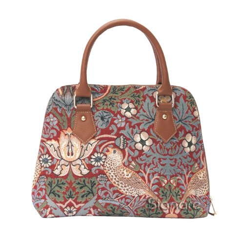 Tapestry Convertible Shoulder Handbag in William Morris Strawberry Thief Red Design